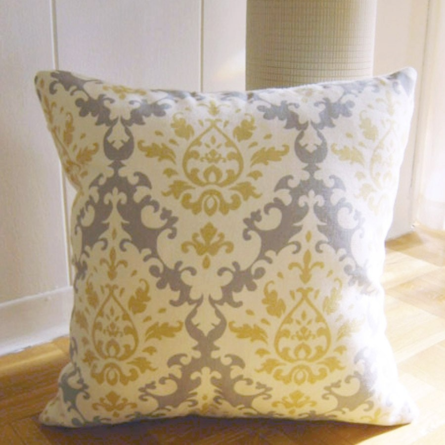 Throw Pillows Groupon : Throw Pillow in Damask Pattern Yellow Grey