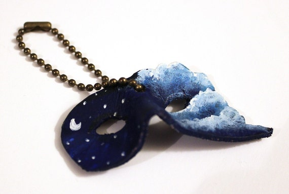 Mini Mask of the Moon - Handmade Leather Keychain