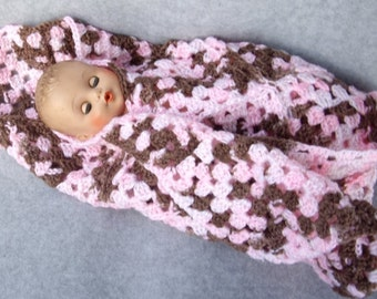 Strawberry and Chocolate Baby Doll or Preemie Blanket