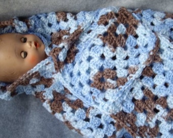 Blue and Brown Blanket for Baby Doll or Preemie