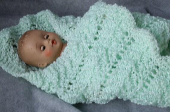 Green Knitted Doll Blanket or Preemie Blanket