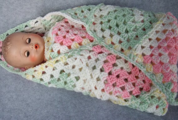 Pink and Green Blanket for Baby Doll or Preemie