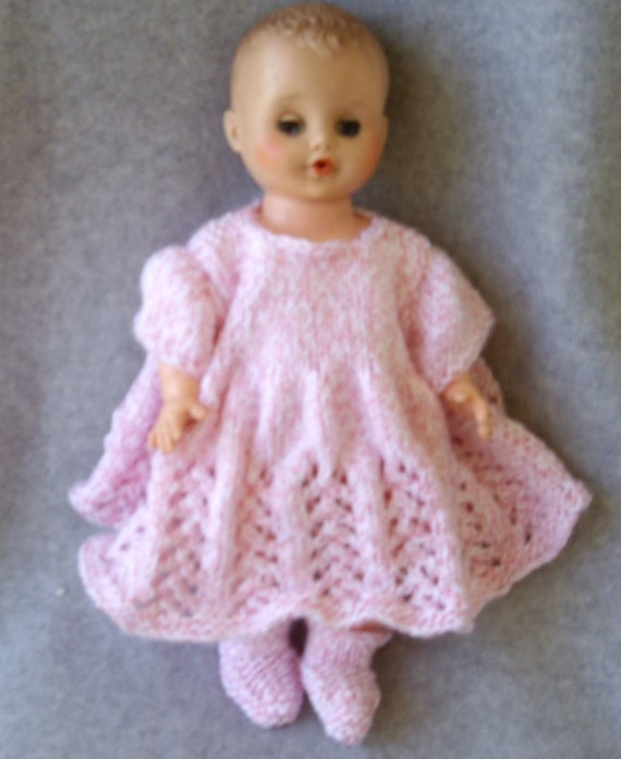 Pink and White Tweed Dress for Baby Doll