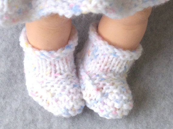 White Speckled Bootees for Baby Doll