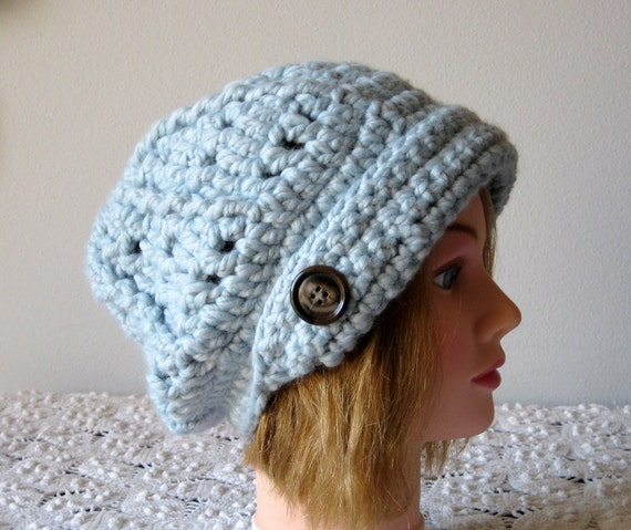 Glacier Blue Urban newsboy womens hat with a reversible flap Custom Order your color