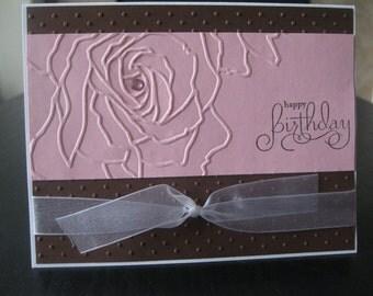 Happy Birthday Rose Handmade Card