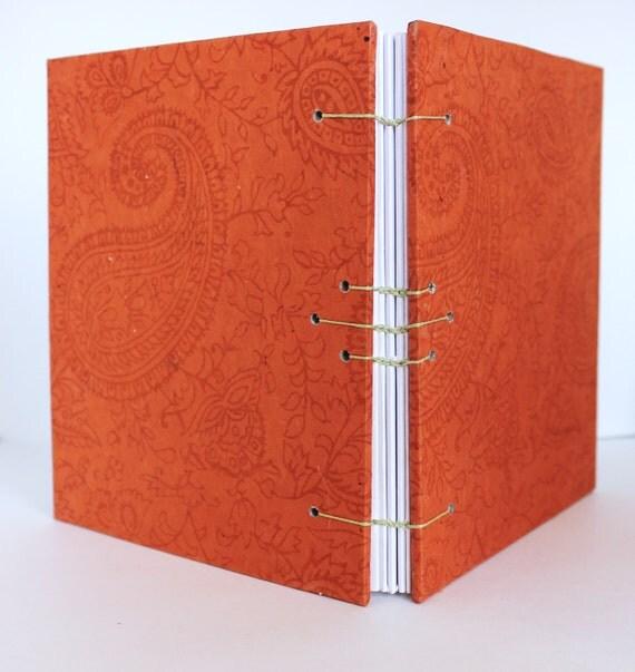 Orange Blank Book, Paisley, Hand bound Journal, Writing Journal