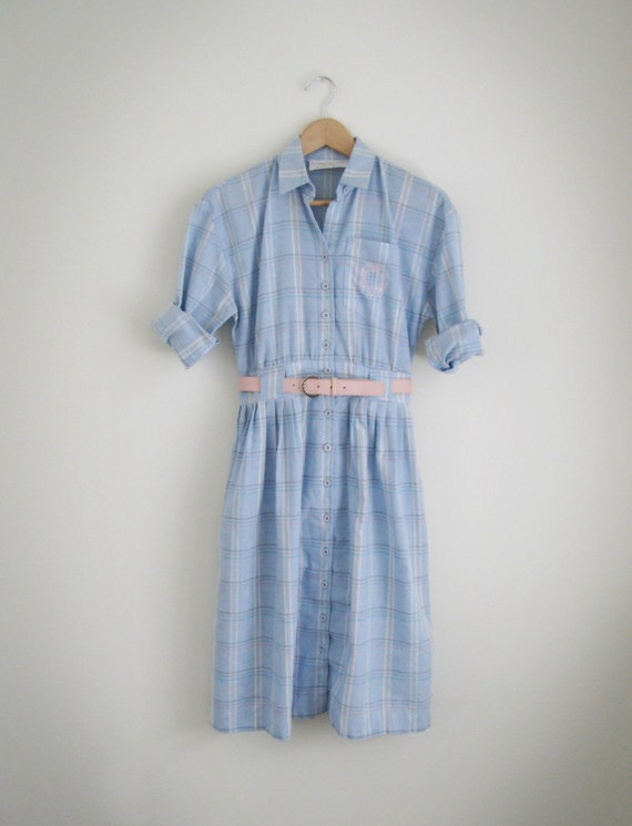 vintage baby blue plaid shirts dress with by thetailorsstories