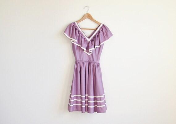 Vintage purple hand made ruffle dress. (SALE)