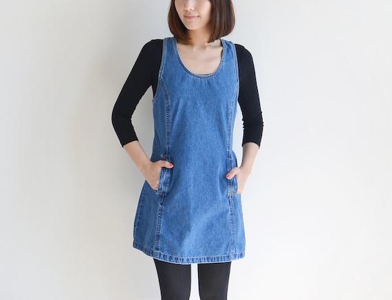 Vintage JORDACHE blue denim jumper dress.
