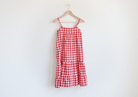 Vintage red kimono print sun dress.