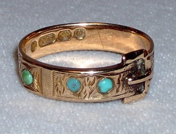 Vintage Victorian 9k rose gold buckle ring with turquoise  - size 8.25 - UK size Q - 8 1/4 - 3 grams