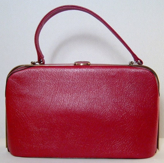 RESERVED Vintage red leather handbag purse  - 1940s 1950s