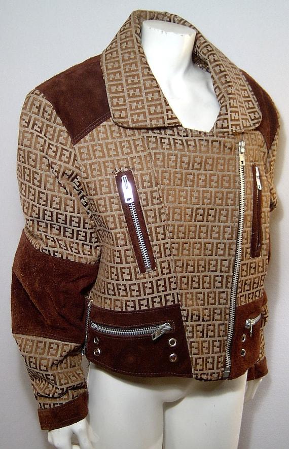 Vintage 1980s Fendi Jacket Medium Brown Suede Canvas Logo