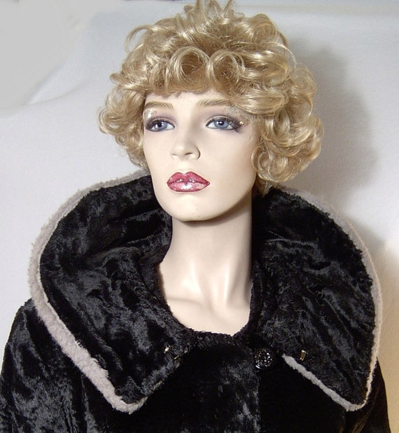 Vintage 1950s 1960s coat - XL - slinky black faux fur