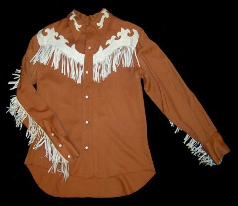 Vintage Ranchman Brown Western Shirt With Leather Fringe 38