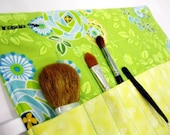 Blue and green floral Makeup brushes, crochet hook or pencil organizer.