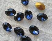8x6 mm Swarovski Montana Blue Oval Glass Rhinestone Qty 10