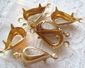13x8 Pear Shaped Brass Rhinestone Settings 1 or 2 Ring