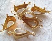 1 or 2 Ring 13x8 Pear Shaped Brass Rhinestone Setting Qty 6