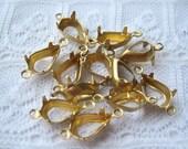 10x6 mm Brass Pear Tear Drop Prong Rhinestone Setting Choose 1 or 2 Ring