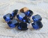 8x6 mm Swarovski Montana Blue Octagon Glass Rhinestone Qty 10