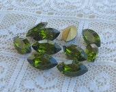 10x5 Swarovski Loose Glass Rhinestone Olivine Green Marquise Navette Qty 10