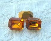 10x8 Topaz Yellow Swarovski Vintage Glass Octagon Rhinestone, gold foiled backs