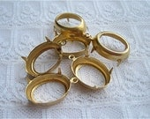 1 or 2 Ring 18x13 Oval Brass Prong Rhinestone Setting Qty 6