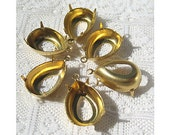 1 or 2 Ring 18x13 Pear Metal Prong Settings, Bezel Qty 6