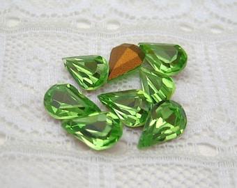 8x4 mm Swarovski MC Peridot Rhinestone Pear Glass Jewels Teardrop Shaped Loose RhinestonesQty 8