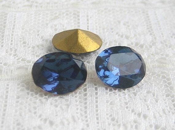 10x8 Swarovski Glass Rhinestone Montana Blue Oval