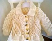 Hand knit classic Irish Aran Sweater for child