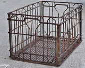 Vintage Wire Crate - 19x12x11 - reclaimed - industrial - repurposed - rustic - contemporary - salvaged - milk crate - storage - decor