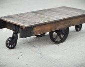 Reserved for Tyler Kiziah - Vintage Industrial Factory Cart Coffee Table - 53L x 24W x 14T - hamilton furniture repurposed