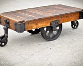 Vintage Industrial Factory Cart Coffee Table - 48L x 27w x 16.5t - furniture salvaged repurposed weathered rustic all original