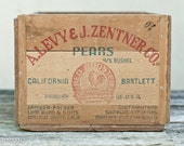 Rare Vintage Wooden A.J. Levy & J. Zentner Co.Bartlett Pears Fruit Crate 11 - stamped storage cottage decor california blue red letters