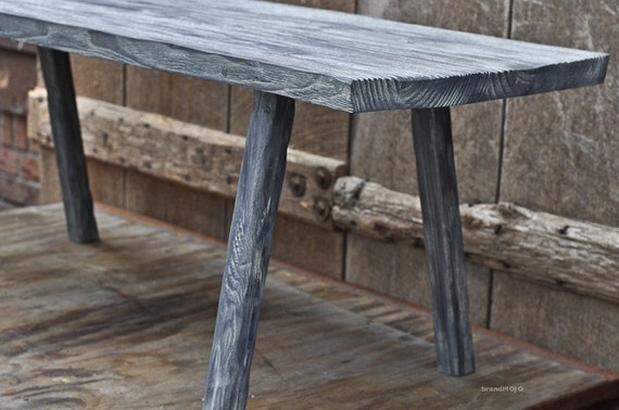 Reclaimed Wood Sitting Bench (Whitewashed) - Rustic Custom Furniture - Solid Wood - Made in the USA - Simple Table