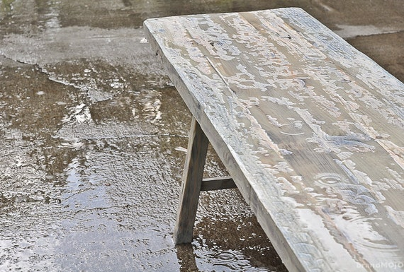 Primitive Cobbler's Bench - reclaimed barnwood table - indoors outdoors - Custom Furniture - Classic design - Simple rustic