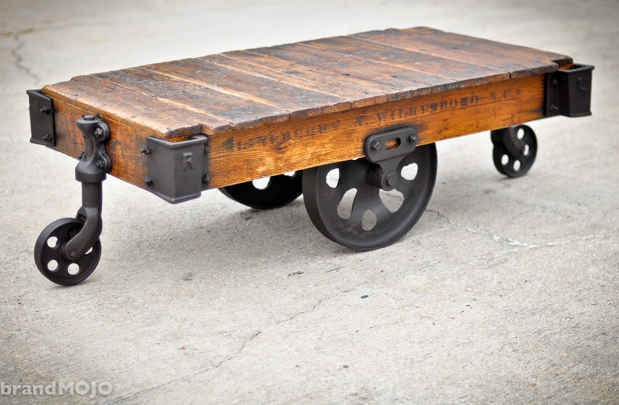 Vintage industrial factory cart coffee table 48l x 27w x Antique wheels for coffee table