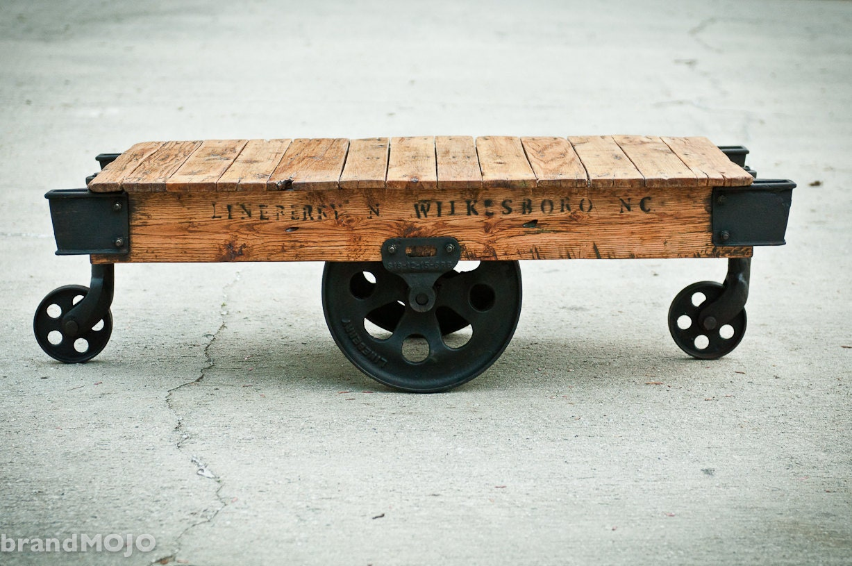 Industrial Factory Cart Coffee Table Reserved For Lisa Genest Original Industrial Factory Cart