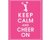Keep Calm and CHEER ON (cheerleader) - Art Print (Featured in Hot Pink) Keep Calm Art Prints and Posters