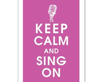 Keep Calm and Sing On-Vintage Microphone 13x19 Poster (Rasberry Rouge) Buy 3 and get 1 FREE