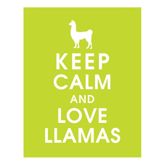 Keep Calm and LOVE LLAMAS (B) - Art Print (Featured in Lime Soda) Keep Calm Art Prints and Posters