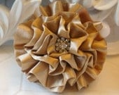 "Giselle - NUDE Gold 2.5"" Satin Flower with Rhinestone Center Wedding Bridal  Favor Hair Accessory Applique Brooch headband"