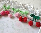 20 Pieces Crocheting Cotton Thread Little Cherries For Headwear Decor Fashion Costume cardmaking