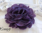 1 pc New Large Shabby Chic Frayed Wrinkled Cotton Voile and Tulle Rose Fabric Flower - Purple