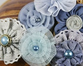 Prima Flowers: 3 SETS of Madrigal Blossom Nocturne blue shabby chic Silk / Chiffon / Tulle / Cotton Lace fabric Flowers with pearl center