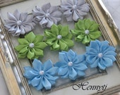 New to the Shop: Set of 9 Blissful Collections - Caroline Blue Lime Green Grey Small satin Flowers with pearl center