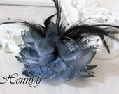 Fashionable Gorgeous feather beads lace flower with pin/hair-tie on the back - Grey Storm
